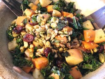 warm smokey maple kale salad