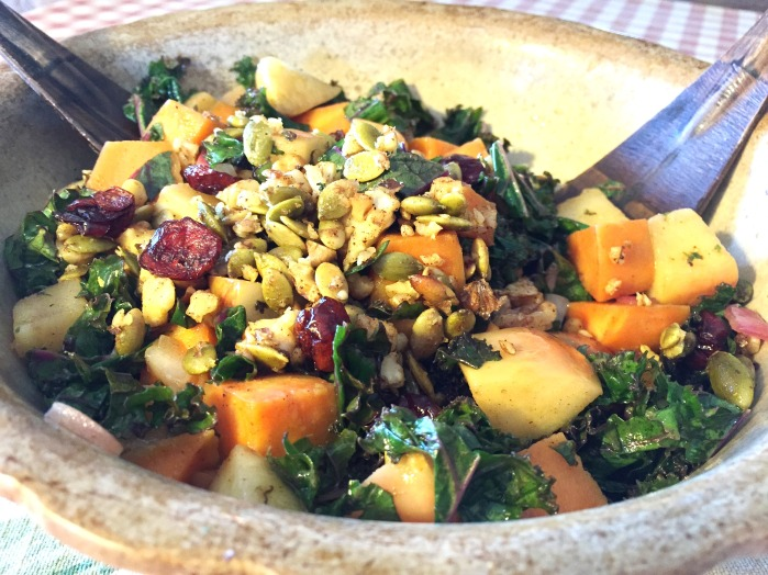 warm kale salad in bowl - close up