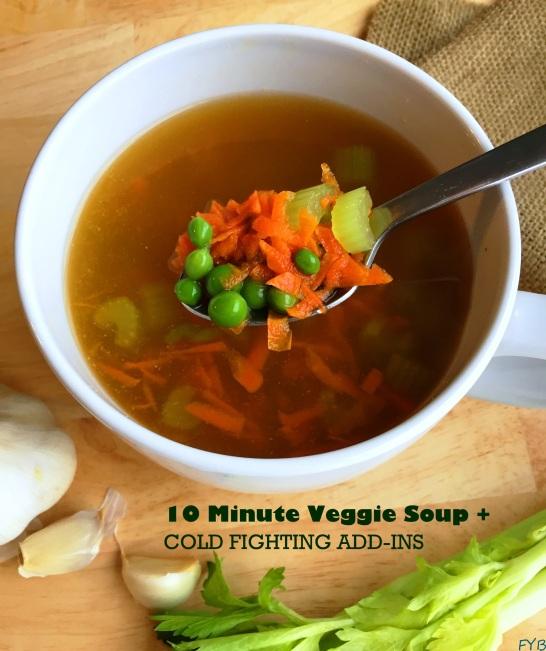 veggie soup + green text