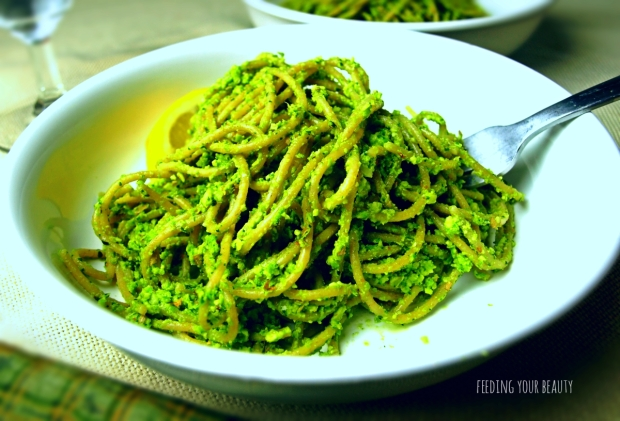 Green Pea Pesto Spaghetti - Vegan and Gluten Free