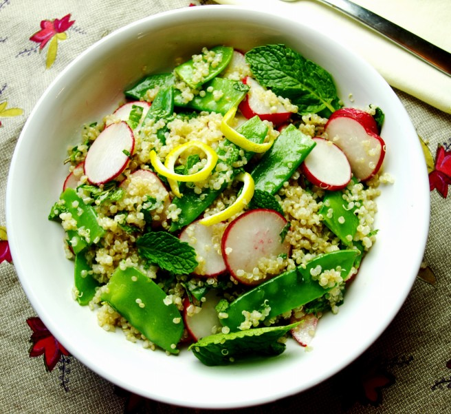 Quinoa Salad with Radish, Mint, and Peas