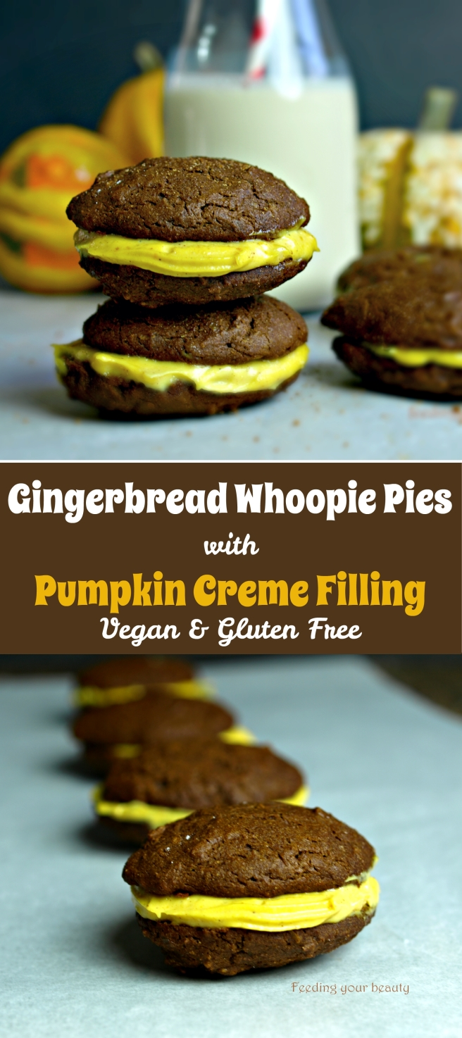 Gingerbread Whoopie Pies with Pumpkin Creme Filling - Vegan and Gluten Free