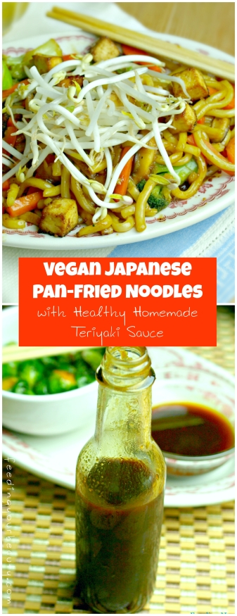 Japanese Pan Fried Noodles with Healthy Teriyaki Sauce (vegan, refined sugar free, gluten free options)