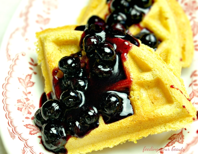 waffle with blueberry compote
