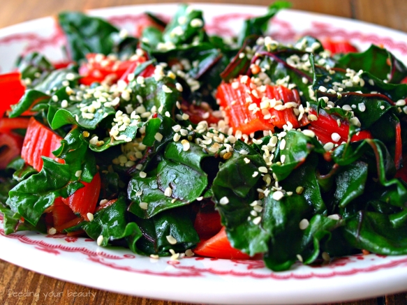 rainbow chard with hemp seeds
