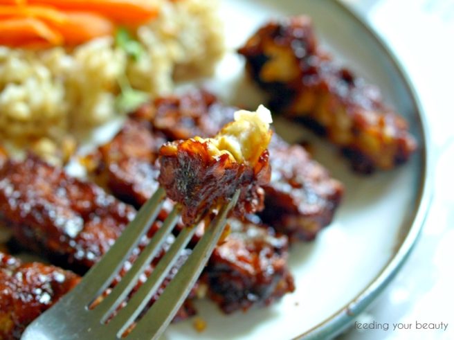 bbq tempeh on fork