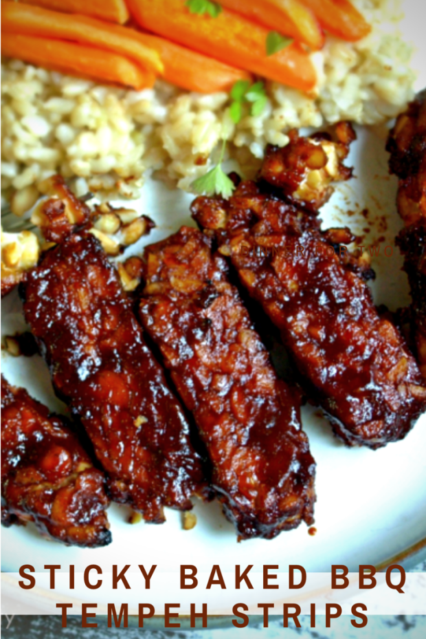 Easy Sticky Baked BBQ Tempeh Strips - Vegan, Gluten Free, 5 ingredients