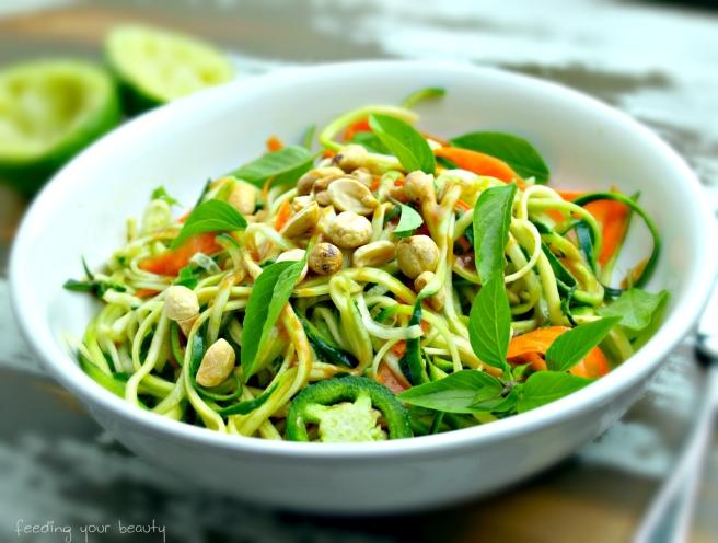 Peanut Zucchini and Cucumber Noodles - Vegan + Gluten/Grain Free
