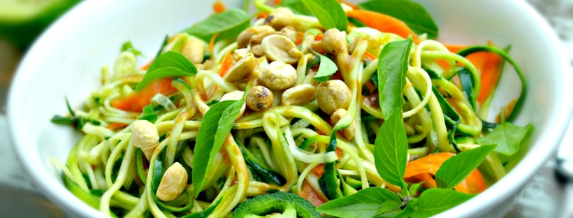 Peanut Zucchini and Cucumber Noodles - Vegan + Gluten/Grain Free