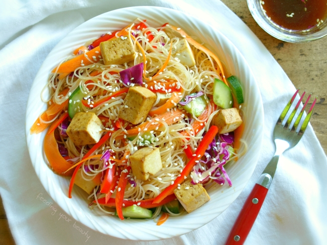 Rainbow Sesame Cold Rice Noodle Bowl