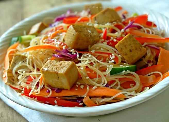 Rainbow Sesame Rice Noodle Bowl
