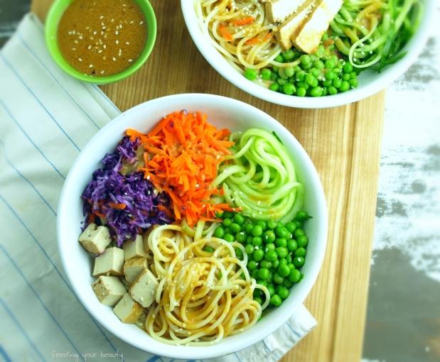 rainbow veggie noodle bowls