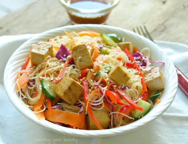 Rainbow Sesame Rice Noodle Bowl - Vegan + Gluten-Free