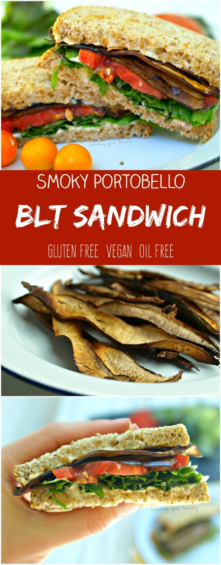 Smoky Portobello BLT Sandwiches - vegan, oil free, gluten free