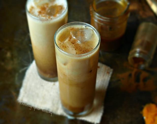 5 Minute Iced Pumpkin Spice Latte - vegan, refined sugar free, caffeine free