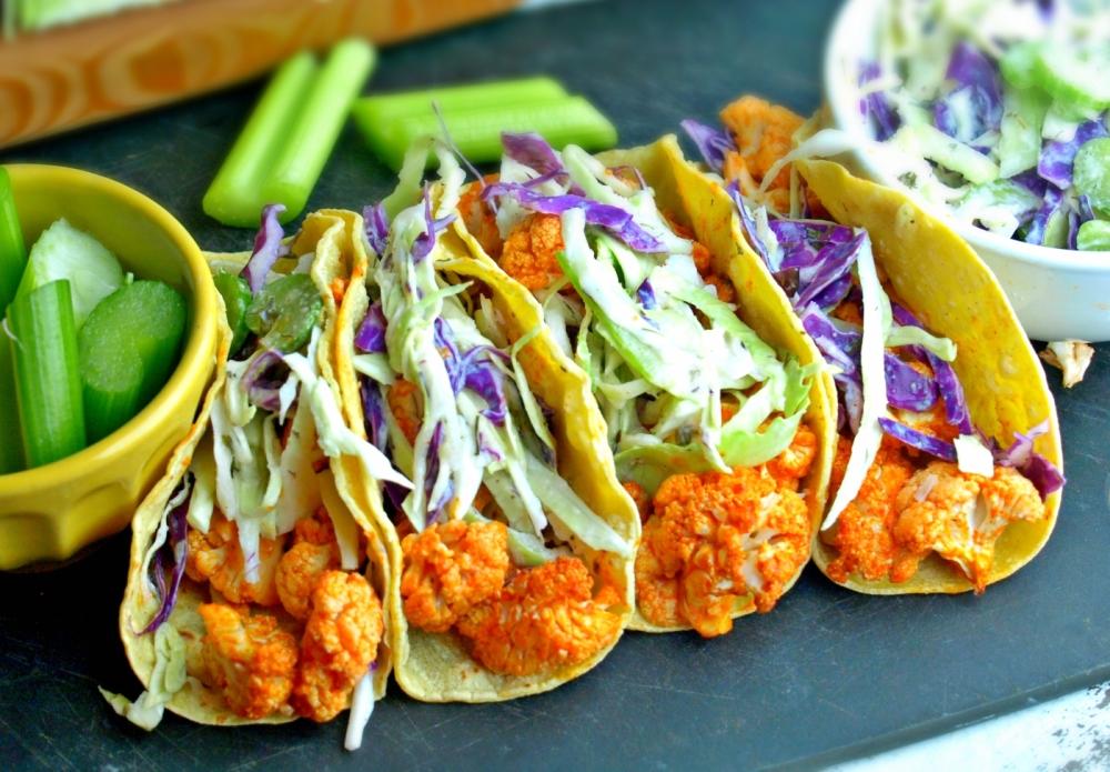 Buffalo Cauliflower Tacos with Cool Ranch Celery Slaw - Vegan and Gluten Free