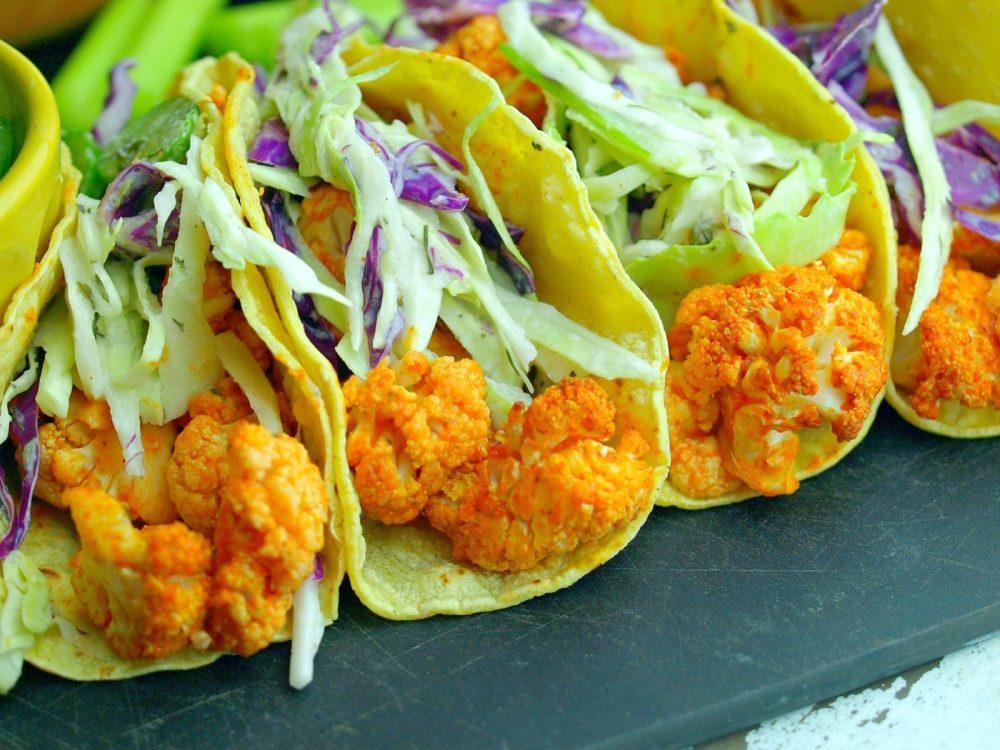 Buffalo Cauliflower Tacos with Cool Ranch Celery Slaw (Vegan, Gluten Free)