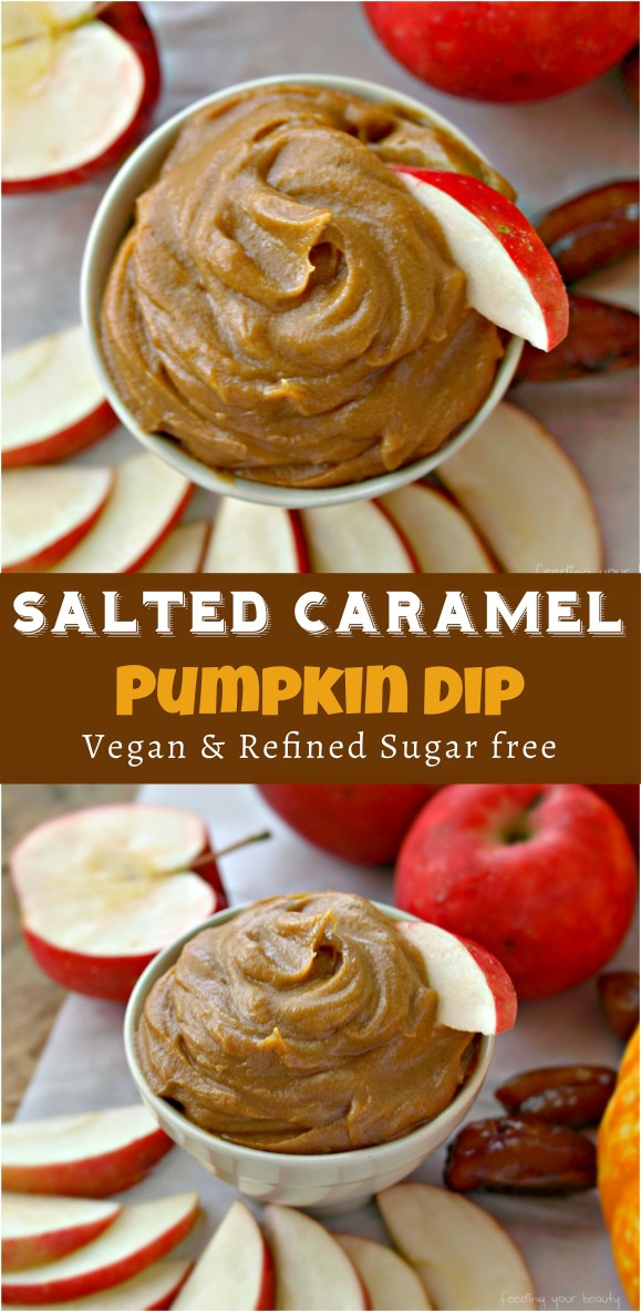Salted Caramel Pumpkin Dip - Vegan, Refined Sugar Free, Low Fat, Oil Free