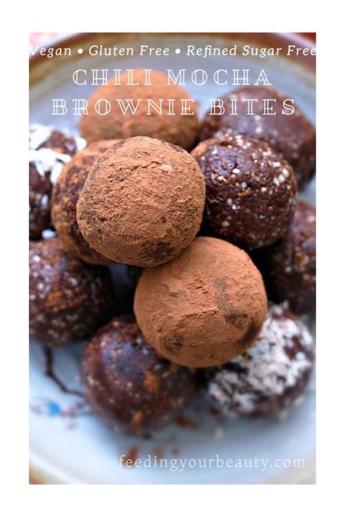 Chili Mocha Brownie Bites - Vegan, Gluten Free, Refined Sugar Free, Oil Free
