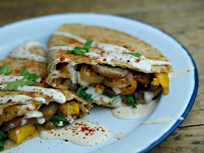 Roasted Pumpkin Quesadillas with Ancho Chili Cashew Cream - Vegan