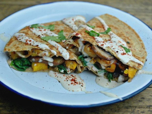Roasted Pumpkin Quesadillas with Ancho Chili Cream