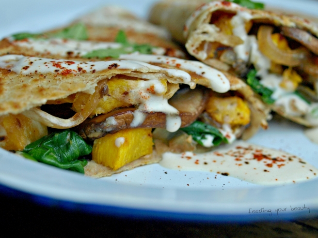 Roasted Pumpkin Quesadilla with Ancho Cashew Cream - Vegan