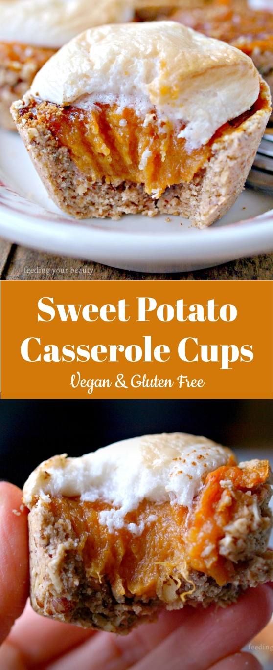 Sweet Potato Casserole Cups - Vegan, Gluten Free, Refined Sugar Free