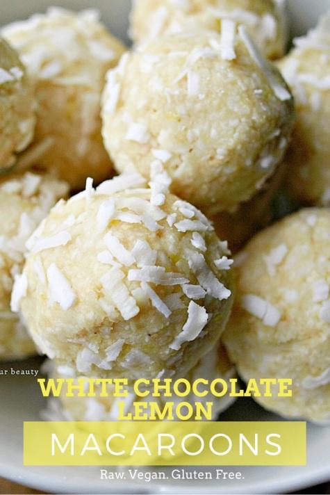 Raw White Chocolate Lemon Macaroons - vegan, gluten free, refined sugar free