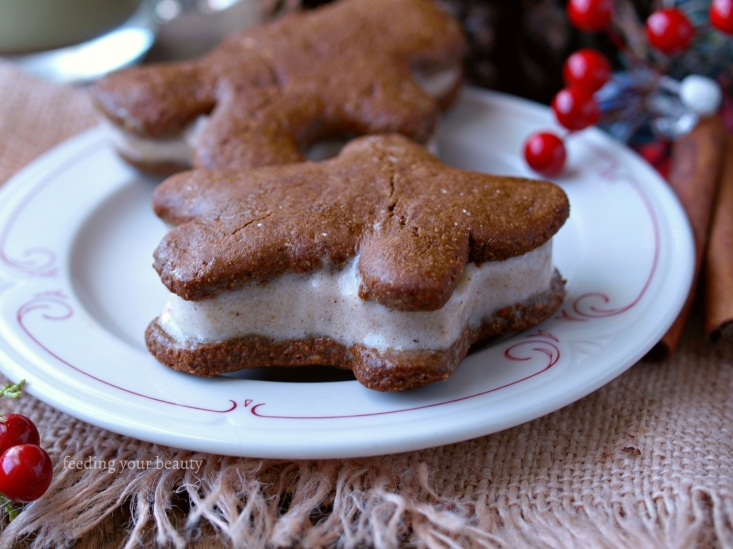 Vegan Gingerbread Men and Nog Nice Cream Sandwiches (gluten free and vegan)