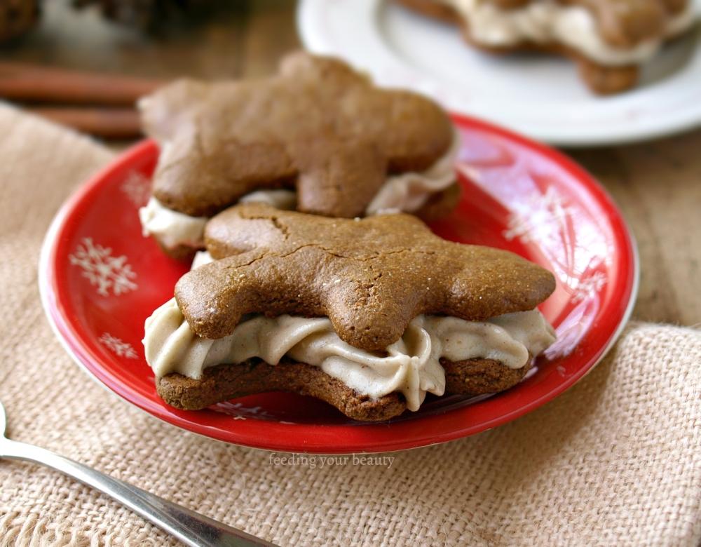 Vegan Gingerbread and Nog Nice Cream Sandwiches (vegan and gluten free)