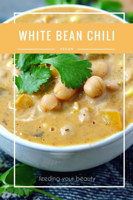 Healthy White Bean Chili - Vegan, Oil-Free, Gluten Free