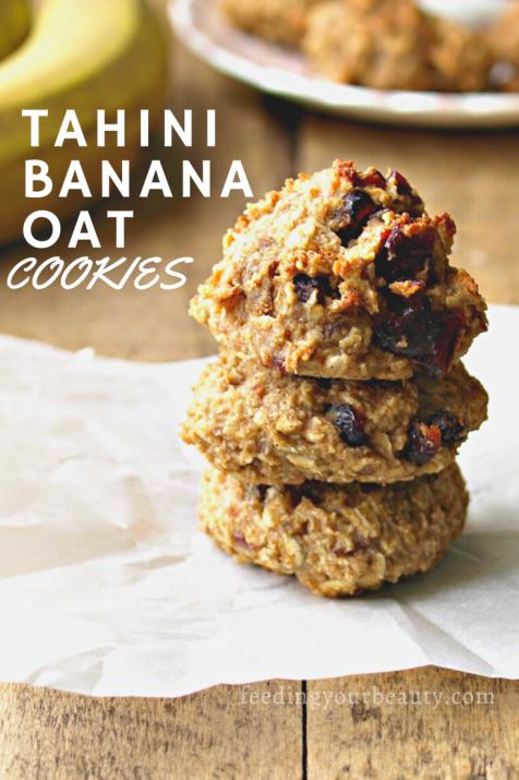 Tahini Banana Oat Cookies - Vegan, Gluten Free, Oil Free, Date Sweetened