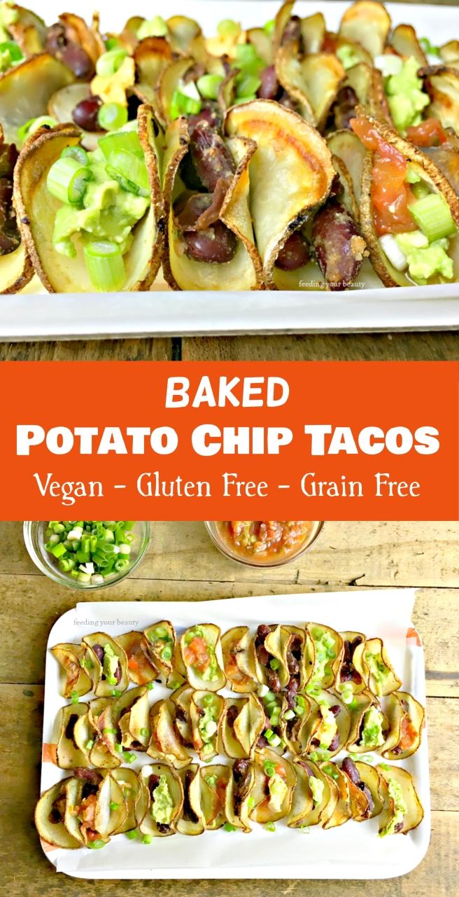 Mini Baked Potato Chip Tacos - Vegan, Gluten Free, Grain Free