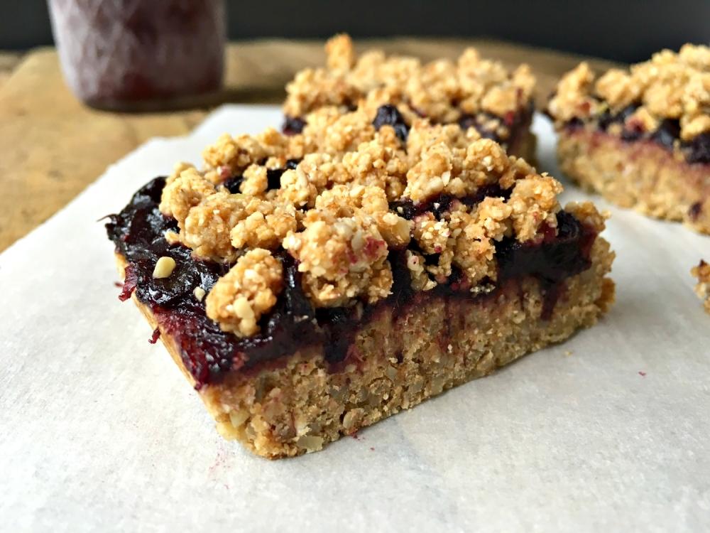 Fruit and Oat Crumble Bars - vegan, gluten free, oil free