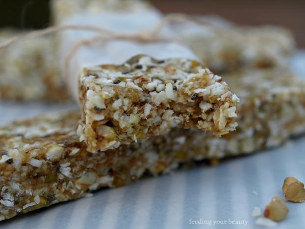 Caramel Coconut Buckwheat Energy Bars - Vegan, gluten free, refined sugar free