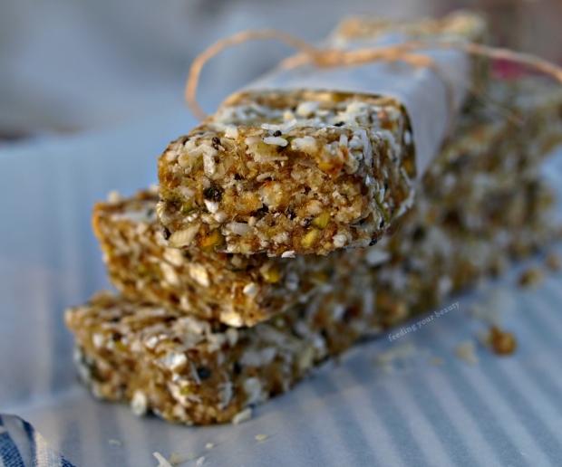 Caramel Coconut Buckwheat Energy Bars - Vegan, Gluten Free, Refined Sugar Free, No Bake