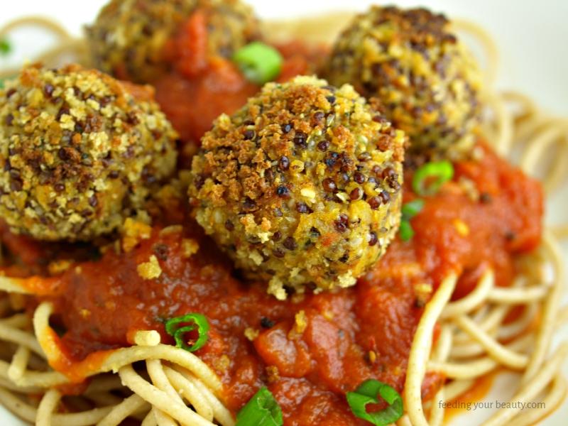 Vegan Quinoa Lentil Hemp Seed Meatballs
