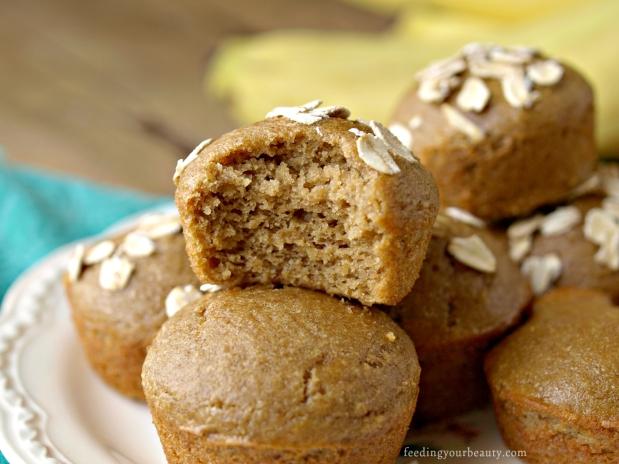 Peanut Butter Banana Mini Blender Muffins - Gluten Free, Vegan, Refined Sugar Free