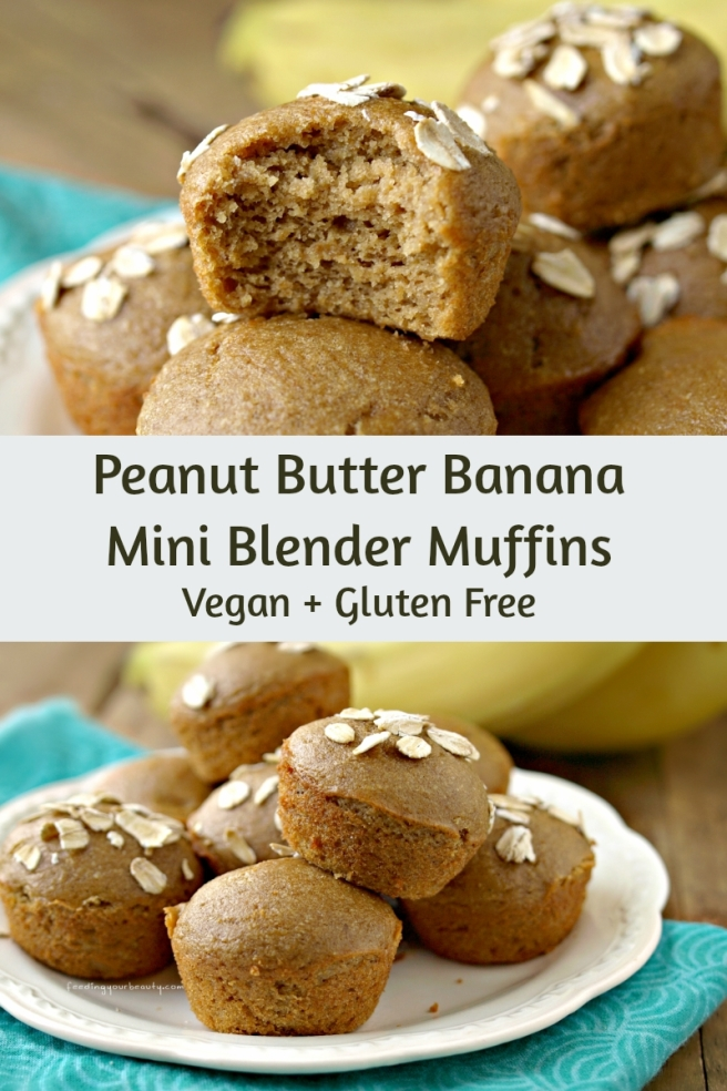 Peanut Butter Banana Mini Blender Muffins - Vegan, Gluten Free, Oil Free, Refined Sugar Free
