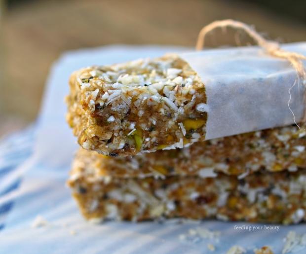 Vegan Caramel Coconut Buckwheat Energy Bars (refined sugar free, gluten free, vegan, raw)