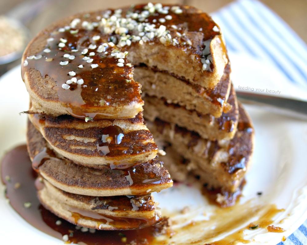 Activated Buckwheat Pancakes with Hemp Seeds - Vegan and Gluten Free