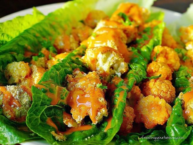 Bang Bang Cauliflower Lettuce Wraps - Vegan
