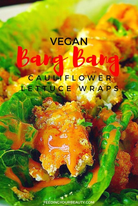 Vegan Bang Bang Cauliflower Lettuce Wraps - can be made oil free and gluten free too