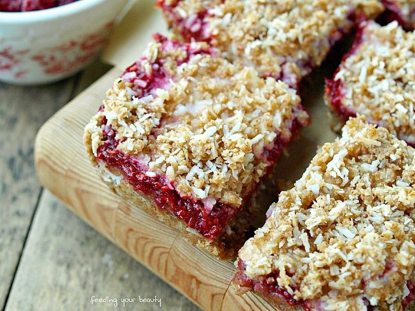 Raspberry Rhubarb Coconut Crumble Bars