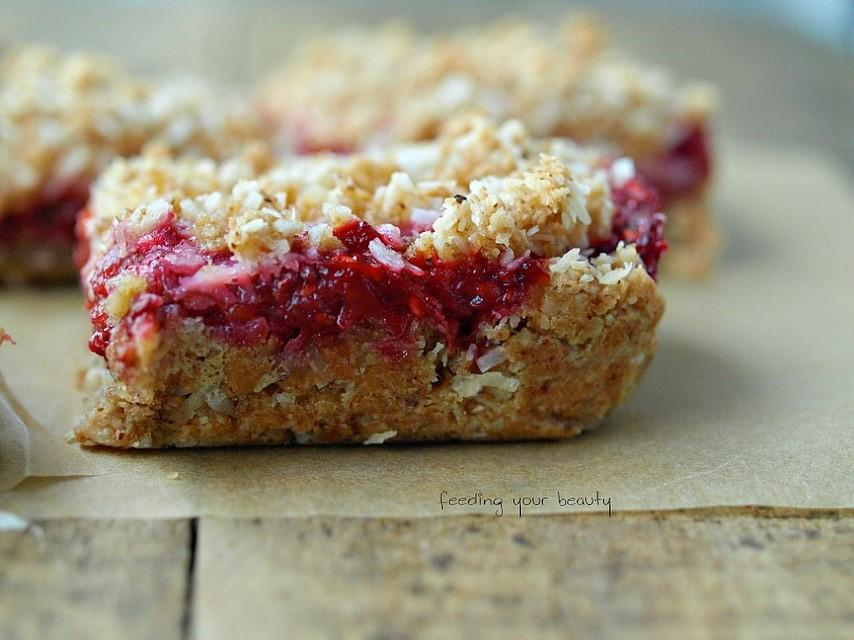 Raspberry Rhubarb Coconut Crumble Bars - Vegan and Gluten Free