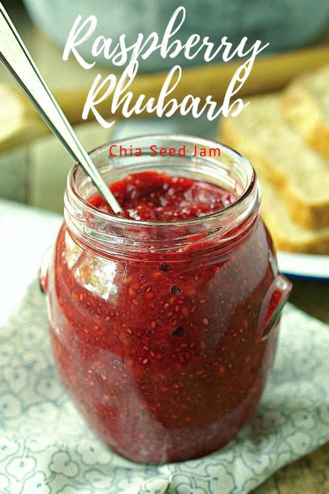 Raspberry Rhubarb Chia Seed Jam - naturally sweetened with maple syrup