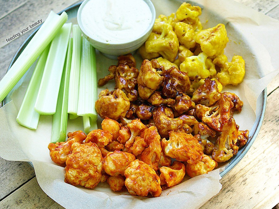 Ultimate Cauiflower Wings Sampler - Buffalo, BBQ, and Maple Mustard - Vegan, Gluten Free, Easy