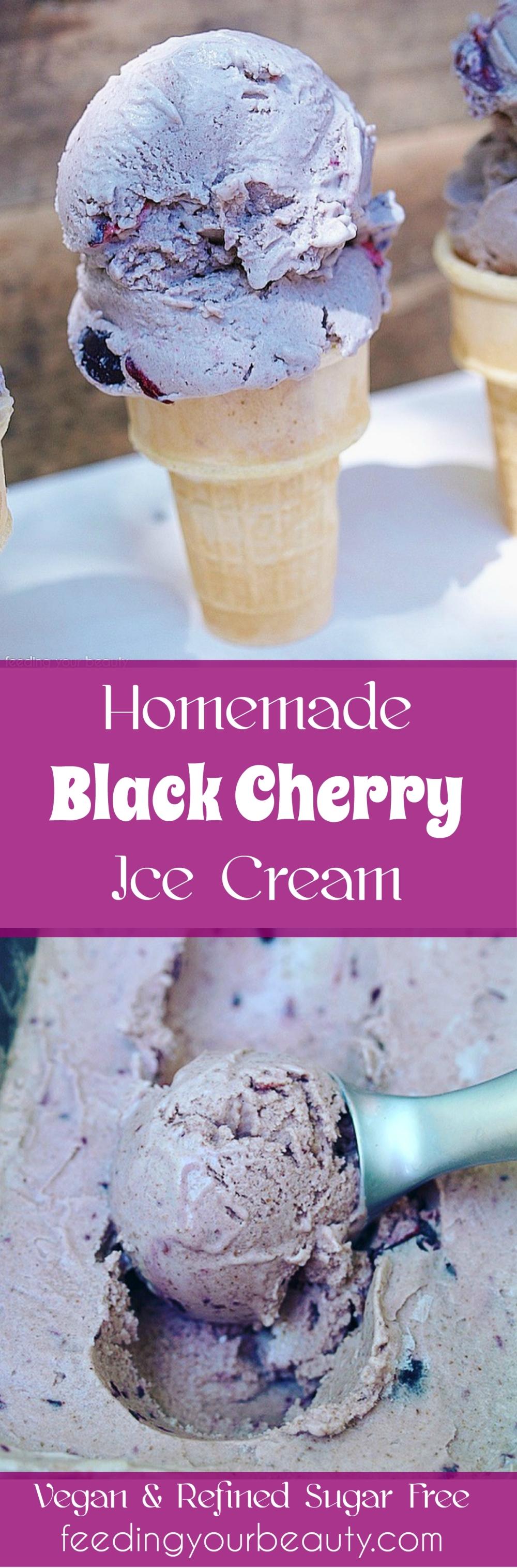 Black Cherry Ice Cream - Vegan, Refined Sugar Free, Naturally Flavored, Paleo