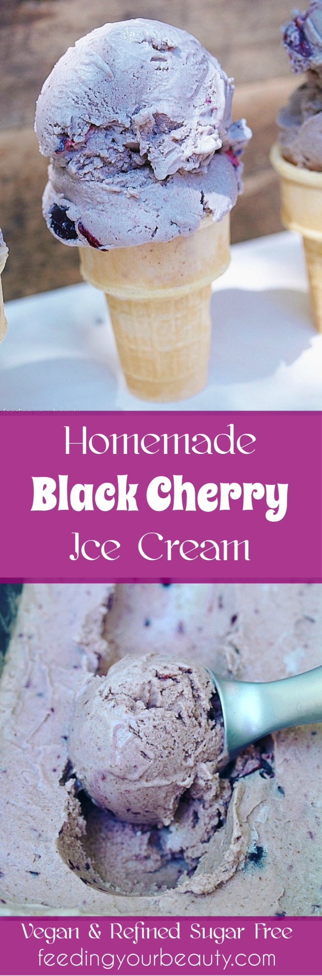 Black Cherry Ice Cream - Vegan, Refined Sugar Free, Naturally Flavored, Paleo