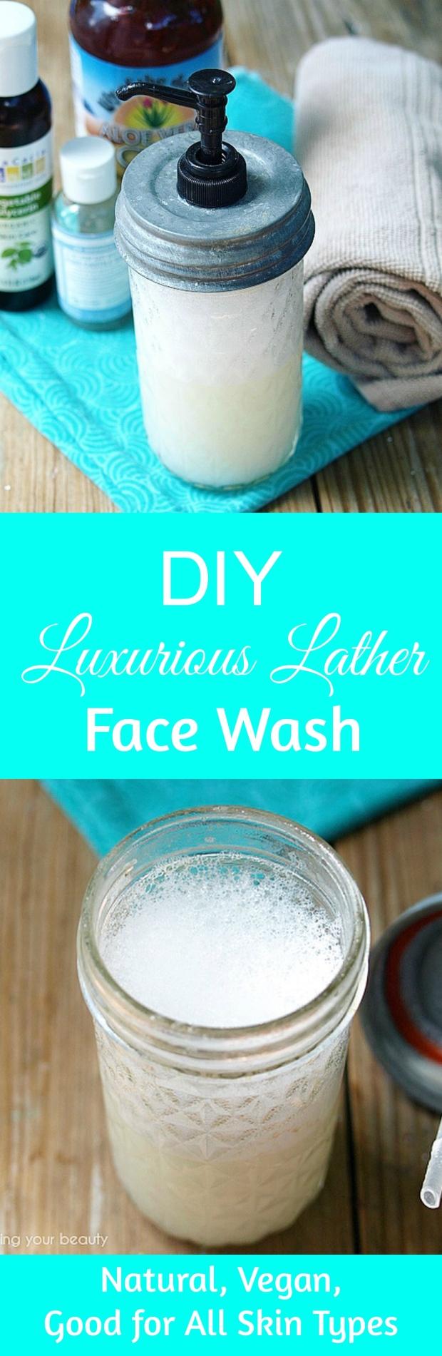 DIY Luxurious Lather Face Wash with Aloe - Natural, Vegan, Anti-acne, Anti-Aging